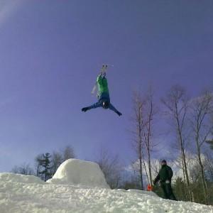 Ski blue sky back lay